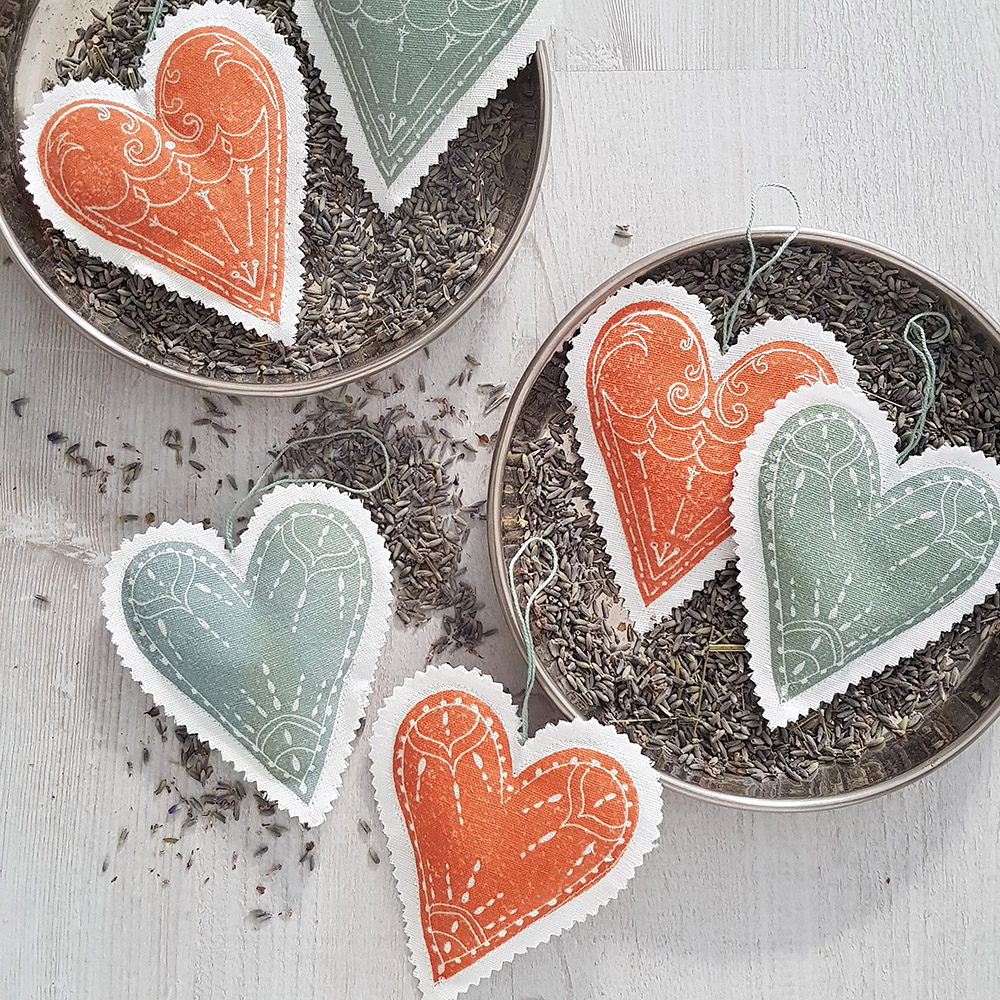 Lavendel-Herzen 2 Stück