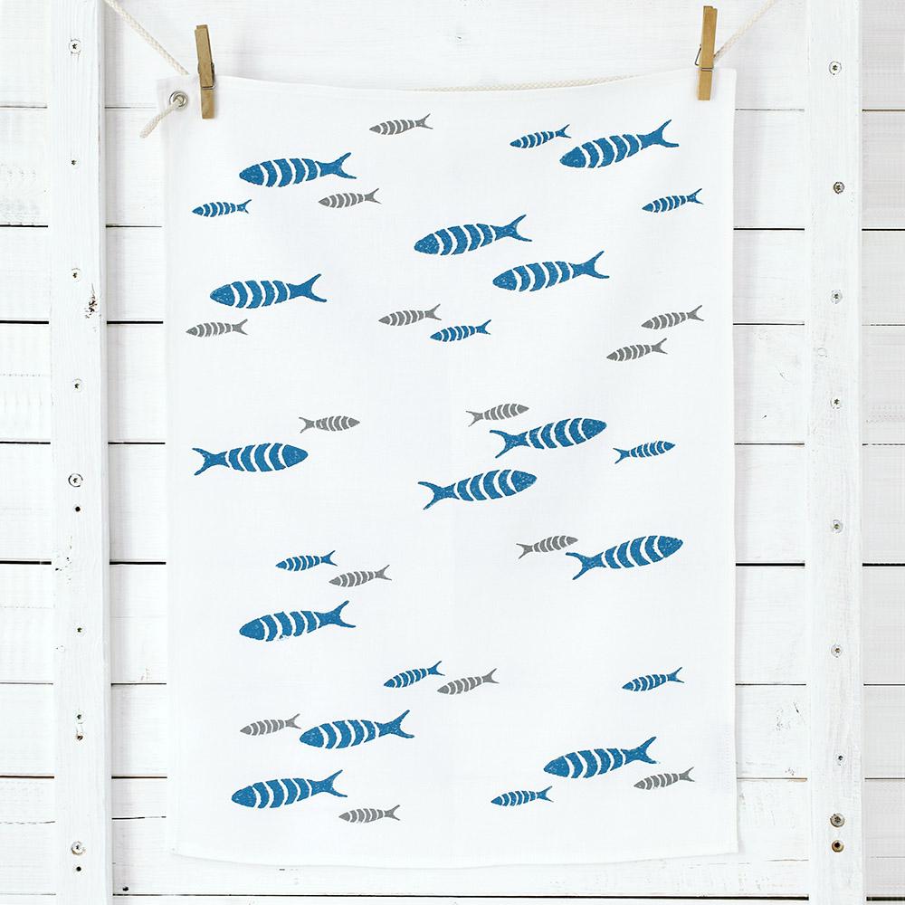Küchentuch Fische/blau